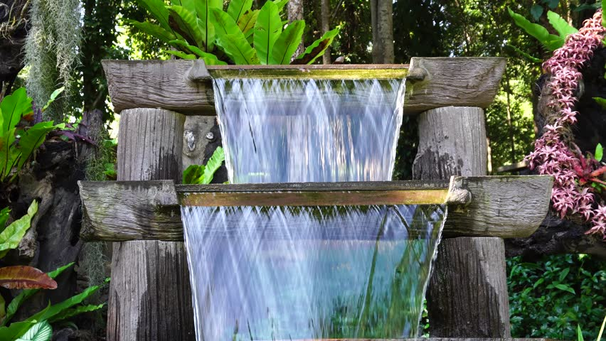 cheap k resolution small waterfall in garden decorative k stock video clip  with decorative water fountains for home.