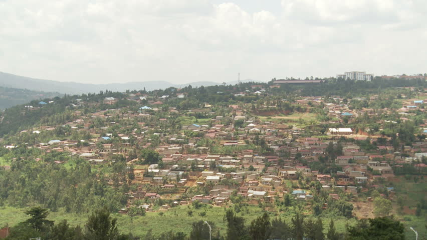 A pan across the infamous Bugaresa valley in Kigali, scene of the 1996 genocide during which thousands of people hid in the swamps below for three months to escape killer bands of soldier.