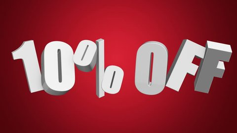 10 percent off 3d letters rotate on red background. 3d render 4K and Full HD footage. Alpha matte included.
