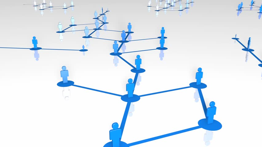Network growing, creating blue connections. 3D Rendering with reflectance on floor. | Shutterstock HD Video #22391545