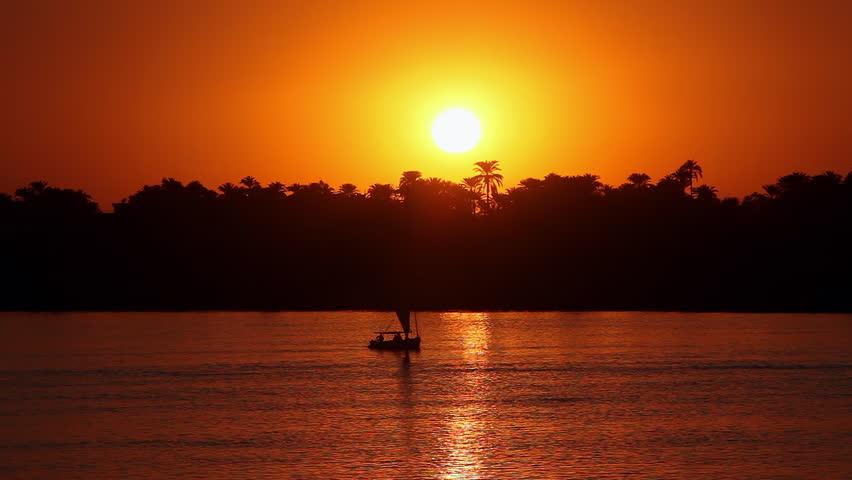EGYPT, LUXOR - JANUARY 2013: Felucca At Sunset; River Nile Luxor Egypt