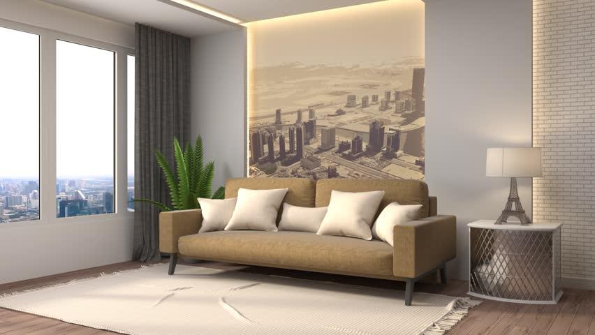 Furniture Design Living Room 3d 3d rendering. modern living room in townhouse. stock footage video