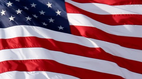 American Flag Slow Waving. Close up of American flag waving. Filmed at 60 fps and slowed down to 30 fps.
