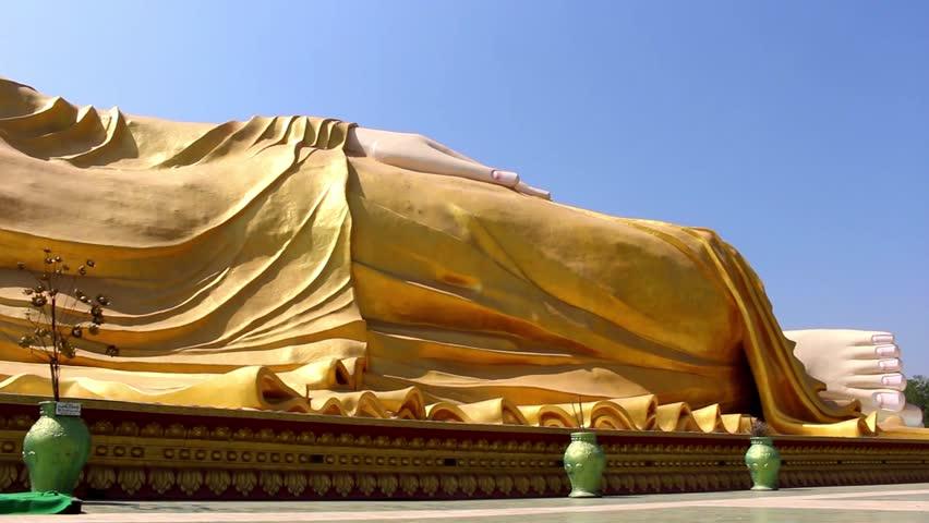 Big Reclining Buddha monument in Bago, Myanmar (Burma)