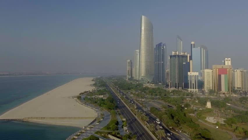 Abu Dhabi Downtown from Corniche Beach.