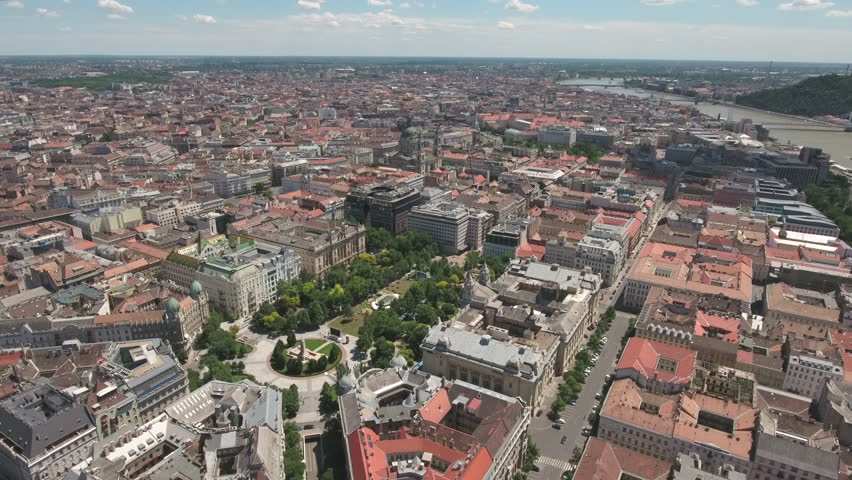 Aerial view of Budapest downtown - Freedom square, June 2016: Hungary - 4K stock