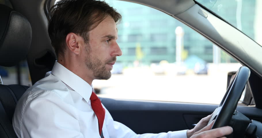 Nervous Business Man Scream Agitated Reaction Upset Sad Driver Cars Traffic Jam. Ultra High Definition, UltraHD, Ultra HD, UHD, 4K, 2160P, 4096x2160