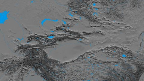 Zoom into Tian Shan mountain range - masks. Elevation map. High resolution ASTER GDEM data textured