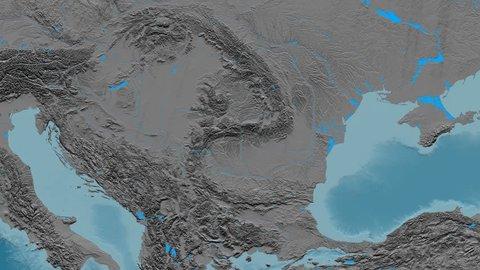 Zoom into Transylvanian Alps mountain range - masks. Elevation map. High resolution ASTER GDEM data textured