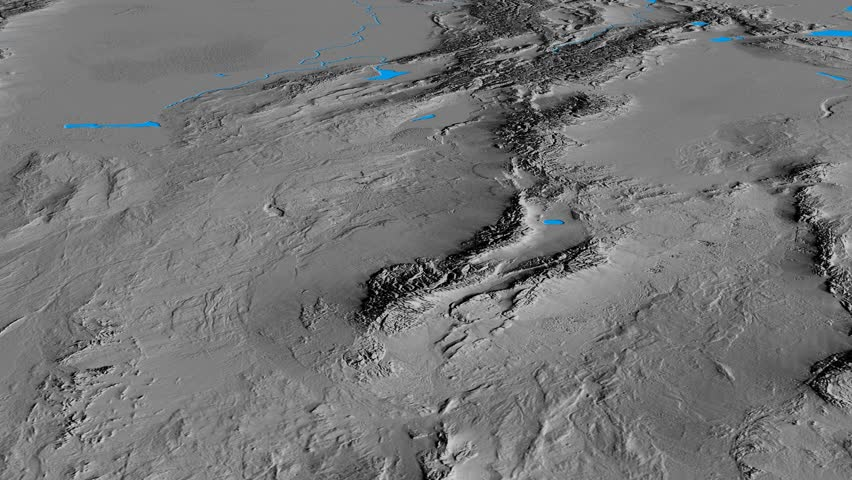 Glide over Tian Shan mountain range - masks. Elevation map. High resolution ASTER GDEM data textured
