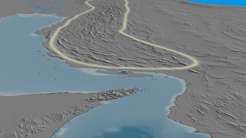 Glide over Zagros mountain range - glowed. Elevation map. High resolution ASTER GDEM data textured
