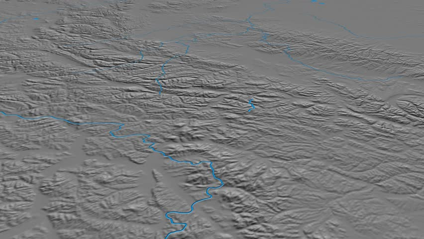 Glide over Verkhoyansk mountain range - masks. Elevation map. High resolution ASTER GDEM data textured