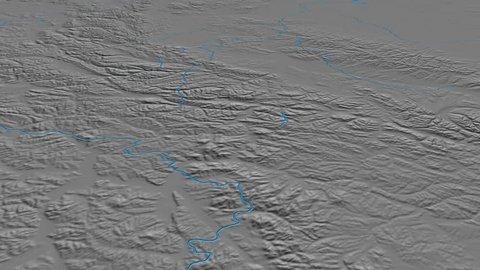 Glide over Verkhoyansk mountain range - masks. Elevation map. High resolution ASTER GDEM data textured