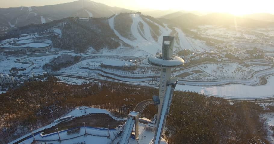 PYEONGCHANG, SOUTH KOREA: Winter view of ski resort in Pyeongchang, South Korea