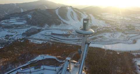 PYEONGCHANG, SOUTH KOREA: Winter view of ski resort in Pyeongchang, South Korea