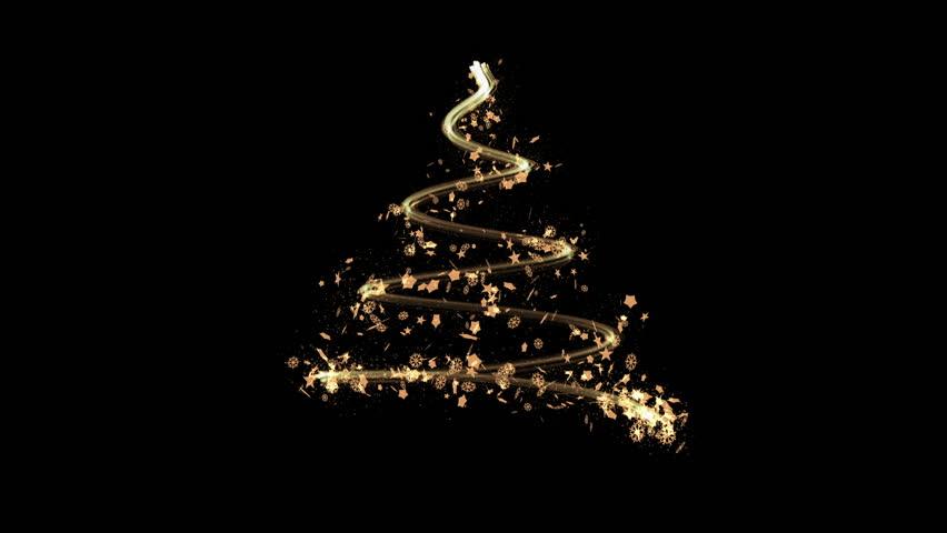 Elegant Christmas Background: Elegant Christmas Tree Made By Golden Sparkling Glitters