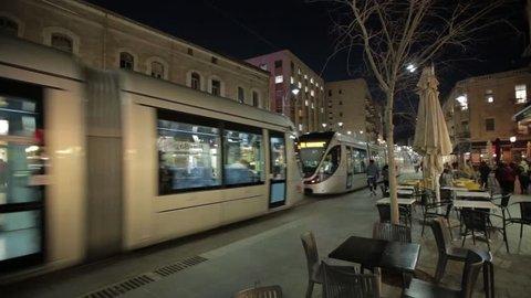 JERUSALEM, ISRAEL - FEBRUARY 10, 2015: Light Rail tram train on Jaffa road in night street