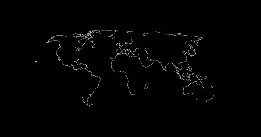 World map in lines 2D animation
