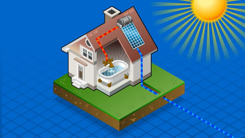 Isometric solar panel in production of hot water from the sun