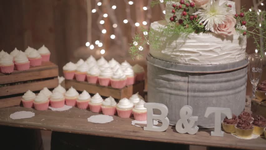 Wedding Reception Decorations Cake Camera Pans Up On Beautiful And Tasty Looking