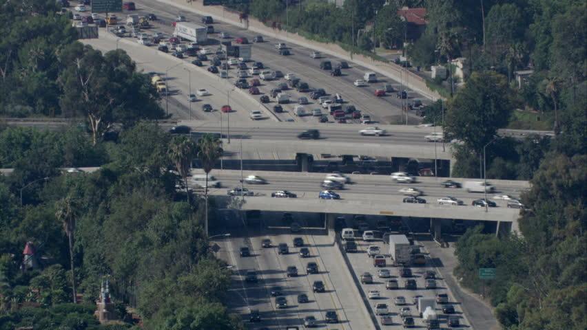 Sky view of traffic moving on LA freeways