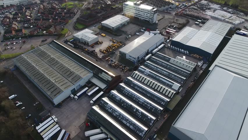 Aerial view of an industrial estate. | Shutterstock HD Video #22769425