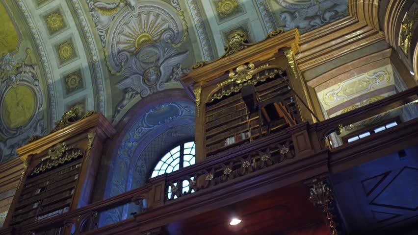 VIENNA, AUSTRIA - DECEMBER, 24 Steadicam interior shot of Austrian National Library. 4K video