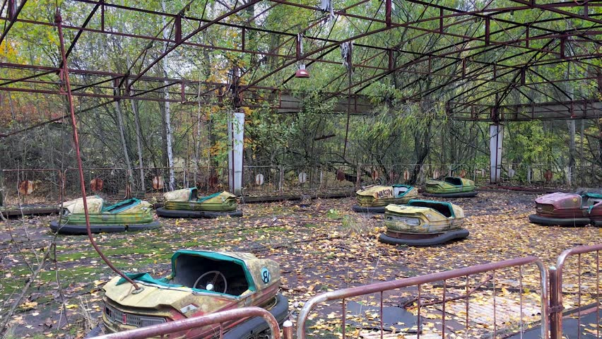 Abandoned bumper cars of Pripyat Town after meltdown of the Chernobyl nuclear power plant nearby in 1986. Plant workers & family were forced to evacuate & never return. Oct 2016.