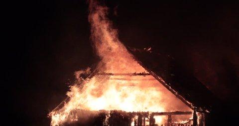 Quebec, Canada - November 2016 - Horse stable on fire. Commercial license no logo no face.