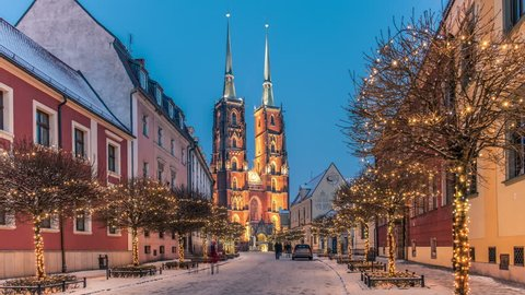 Winter in Wroclaw, Poland. Cathedral of St. John. Street with Christmas lights. Time lapse video