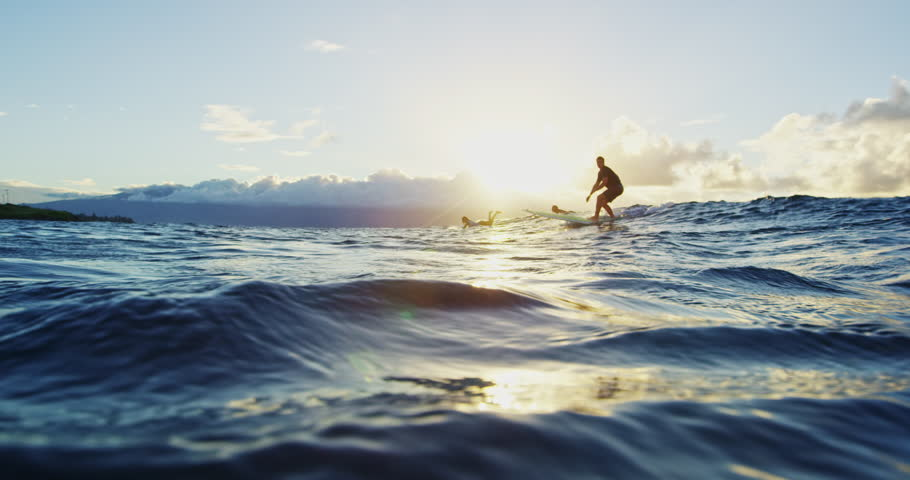 Young Man Surfing at Sunset in Slow Motion. Shot on RED in 4K. Summer Extreme Sports | Shutterstock HD Video #22800895