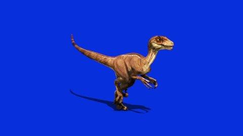 Dinosaurs Velociraptor Run Side dx Jurassic World Prehistory Blue Screen