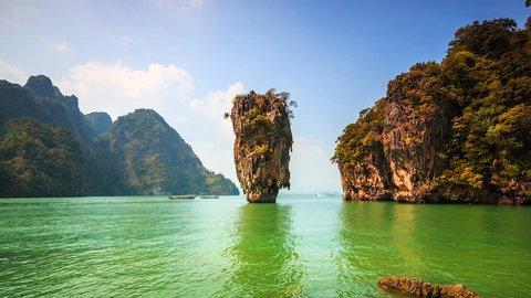 Time Lapse Landscape Khao Phing Kan island (Ko Tapu) in Phang Nga Bay, Thailand