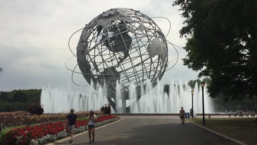 FLUSHING, NEW YORK - SEPT 1, 2016: The Unisphere from 1964 World's Fair is a spherical stainless steel representation of the Earth, located in Flushing Meadows_Corona Park in Queens, New York City