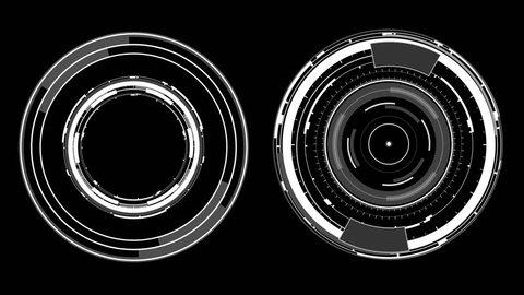 2 Radial HUD Circles Burst  UI Elements. HUD Concept.    - sci fi spin radial circles    - hi-tech    - futuristic widget     4K | 3840 x 2160 | 0:30 sec |