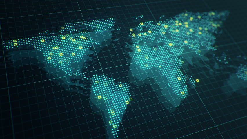 Global news motion graphic with revolving world countries and flat abstract animation of world map in digital screen with colorful dots and lines animation of gumiabroncs Image collections