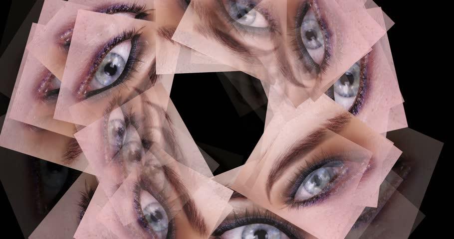 Digital animation of swirling eyes