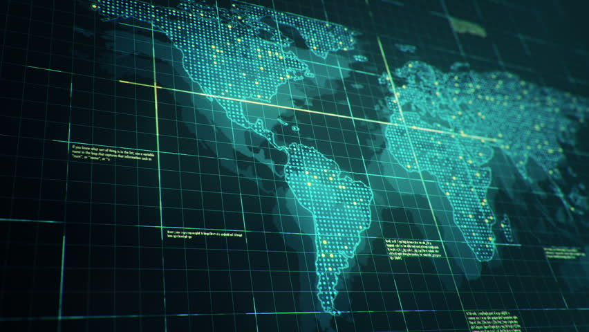 Abstract animation of World map in digital screen with colorful dots and lines. Animation of seamless loop. | Shutterstock HD Video #22911715
