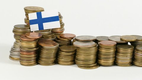 Finland flag waving with stack of money coins