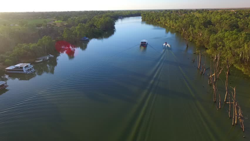 Aerial view of Ski Boat on the Murray River Australia with Houseboat | Shutterstock HD Video #22971535