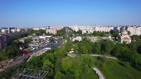 Aerial view of Bucharest city, Romania