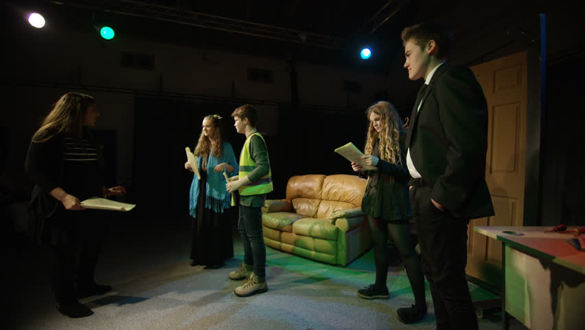 4K Young student actors in rehearsal for school theatre production Dec 2016-UK