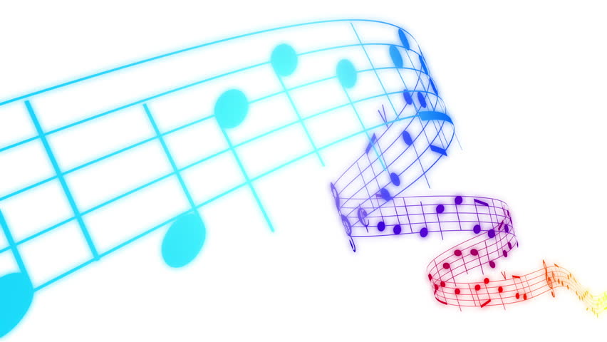 Music notes flowing in rainbow colors on white background. Seamless animation. HD 1080.