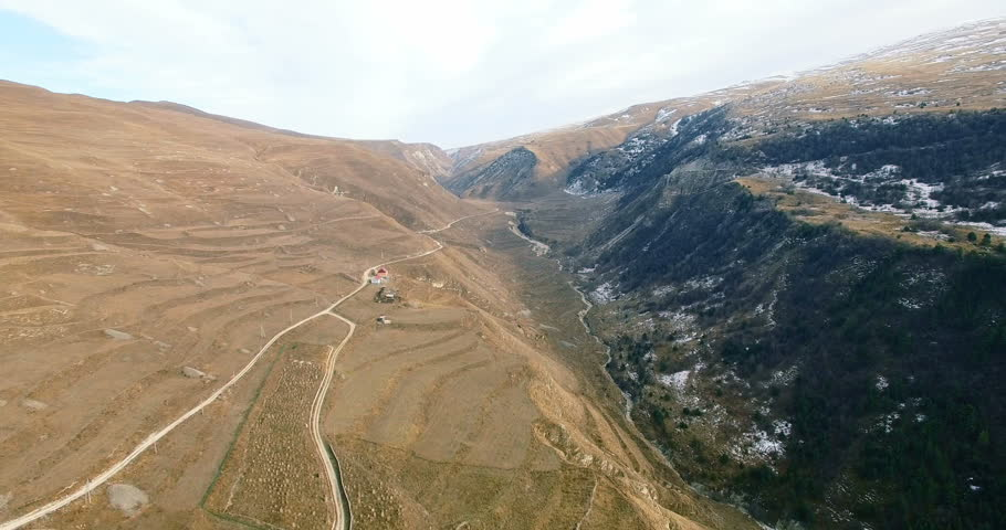 Aerial View Of Chechnya, the Caucasus Mountains