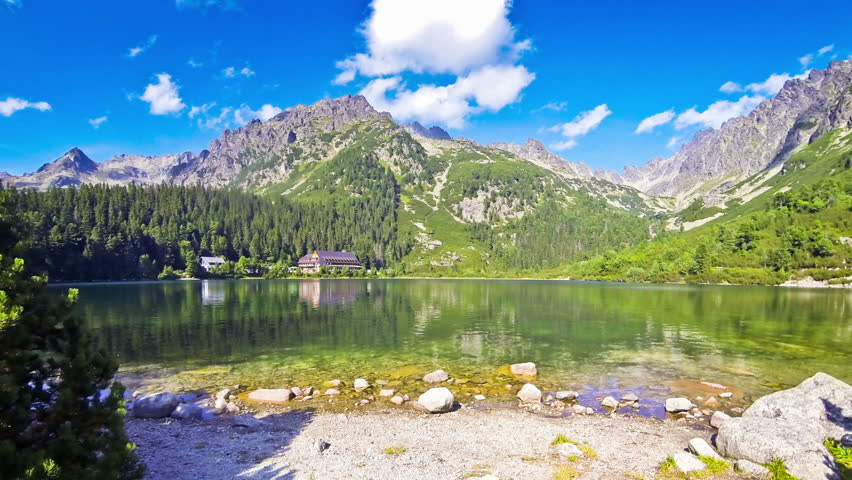 Picturesque summer view of Lake Popradske pleso in High Tatras, Slovakia. Time Lapse | Shutterstock HD Video #23014615