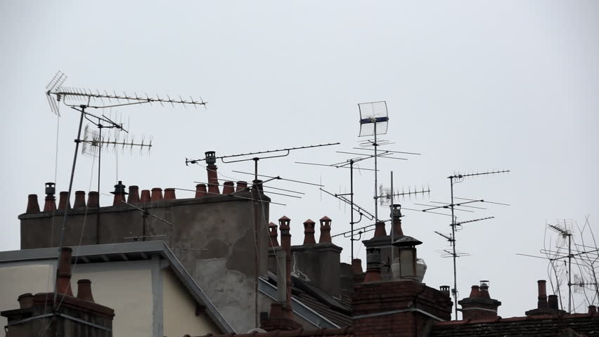 Tilt Down On Roofs With Many Tv Antennas. Long Shot On Roof With Many  Chimneys. Many Tv Aerials. Awful City Landscape. Stock Footage Video  23015335   ...