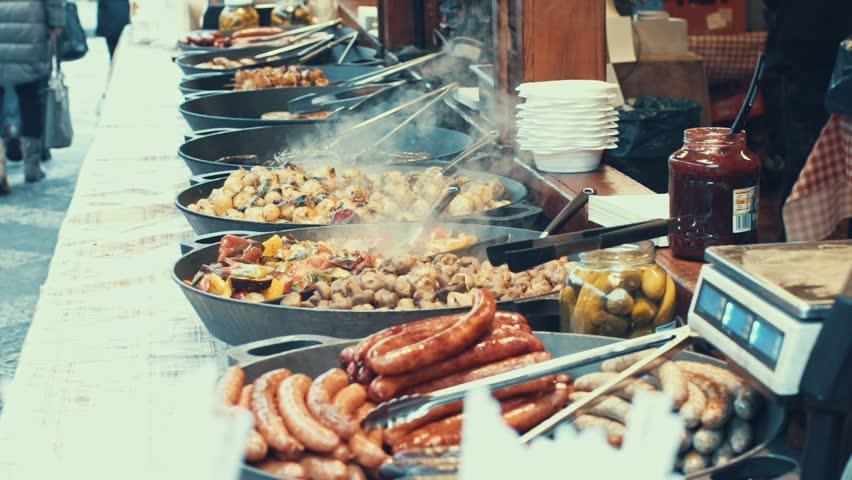 Prague, Czech Republic - December 24, 2016: tasty steet food