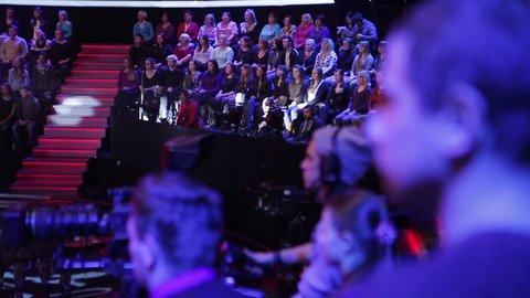 KYIV, UKRAINE - NOVEMBER 3, 2015. The audience in the TV Studio during the recording of TV programs