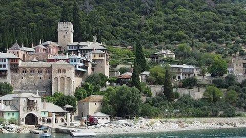 Greece, Mount Athos, Holy Monastery of Xenophon, coast, August 20, 2014.