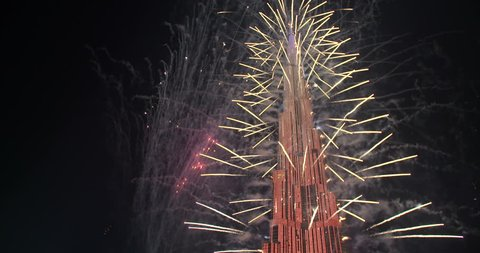 DUBAI, UAE - JANUARY 1, 2017:  Burj al Khalifa New Year Fireworks. The Burj Khalifa known as the Burj Dubai is the tallest structure in the world standing at 829 m,who had the most expensive fireworks